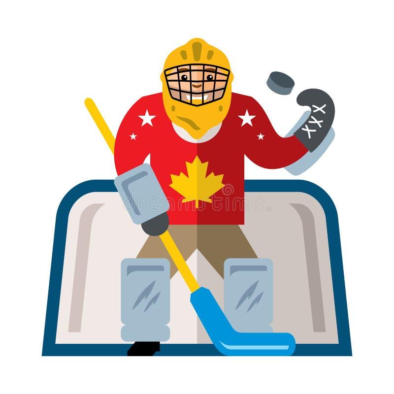 Wektorowy Hokejowy bramkarz Mieszkanie kreskówki stylowa kolorowa ilustracja royalty ilustracja