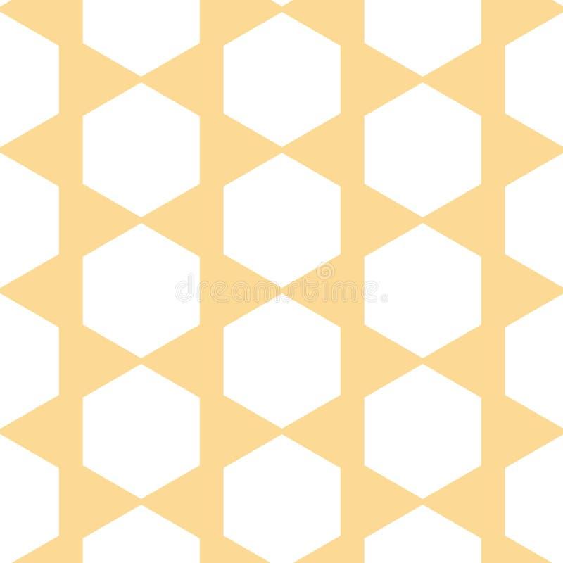 Wektorowy HoneyComb abstrakt na Pastelowym Żółtym bezszwowym deseniowym tle ilustracji