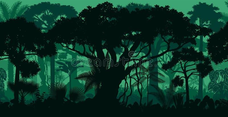 Wektorowy horyzontalny bezszwowy tropikalny tropikalny las deszczowy dżungli lasu tło royalty ilustracja