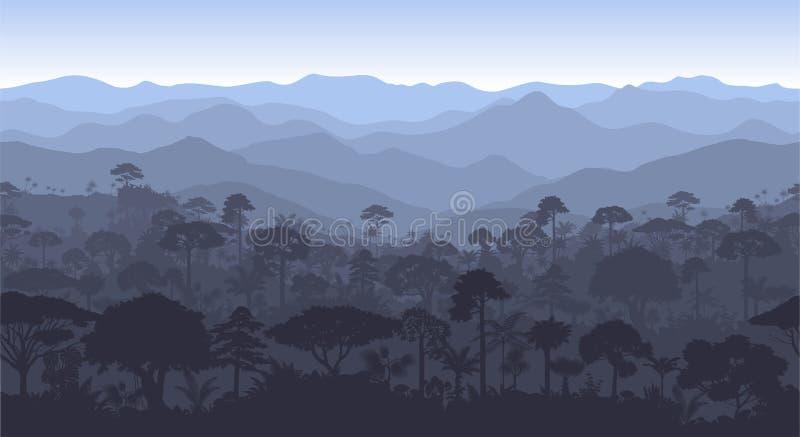 Wektorowy horyzontalny Costa tropikalnego lasu deszczowego dżungli lasu bezszwowy tło ilustracji