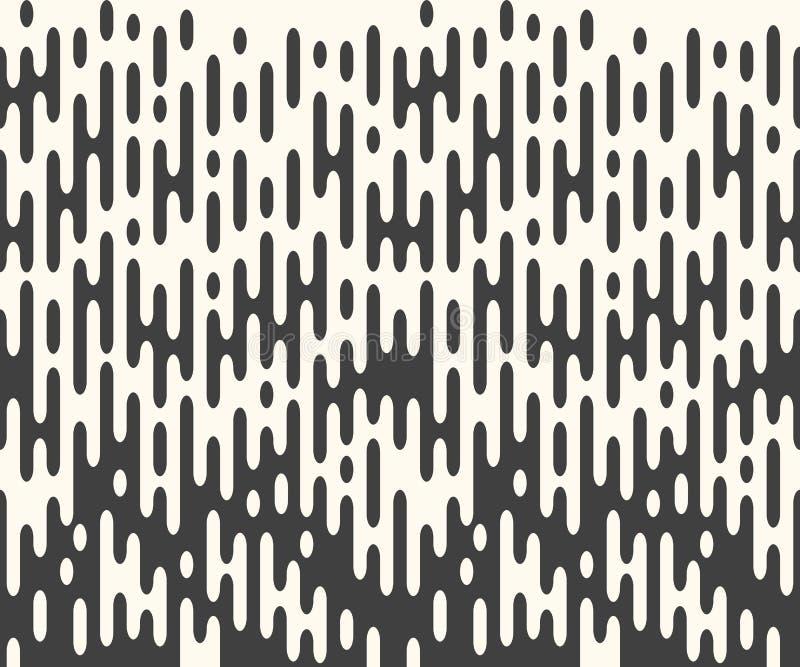Wektorowy horyzontalny powtarzalny halftone wykłada, zaokrąglał, kształty Bezszwowi abstraktów lampasy, monochromatyczna narzuta, ilustracji