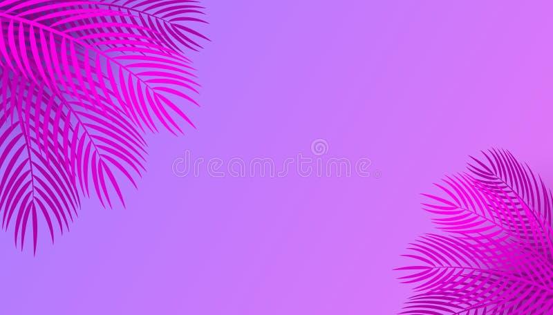 Wektorowy horyzontalny różowy purpurowy neonowy tło z palmowymi liśćmi ilustracji