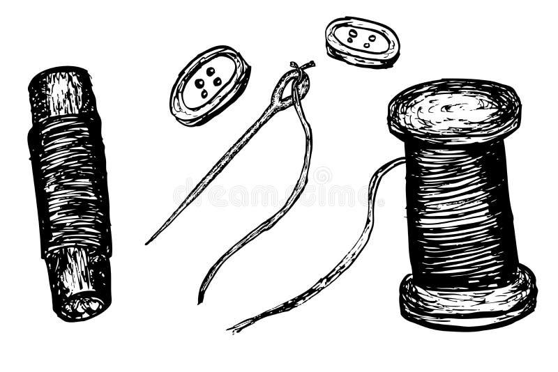 Wektorowy Igielny guzik i nić ilustracji