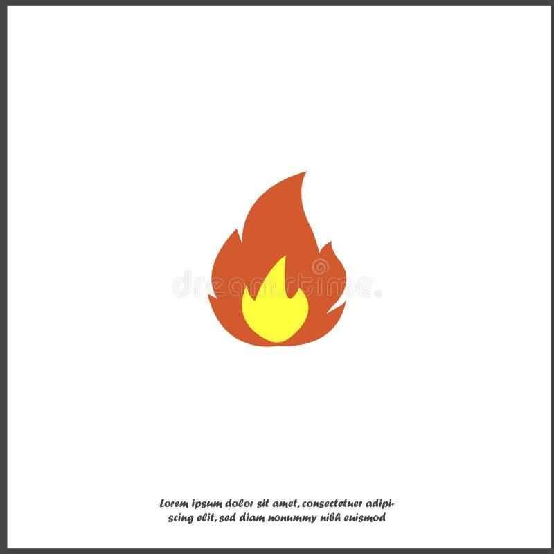 Wektorowy ikona ogień, płomienie Symbol ogień, gorący Stubarwna ilustracja na białym odosobnionym tle royalty ilustracja