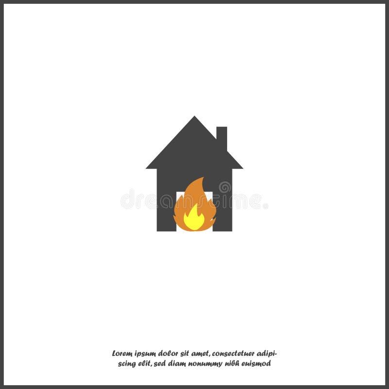 Wektorowy ikona ogień w domu Ilustracja pożarniczy zagrożenie na białym odosobnionym tle royalty ilustracja