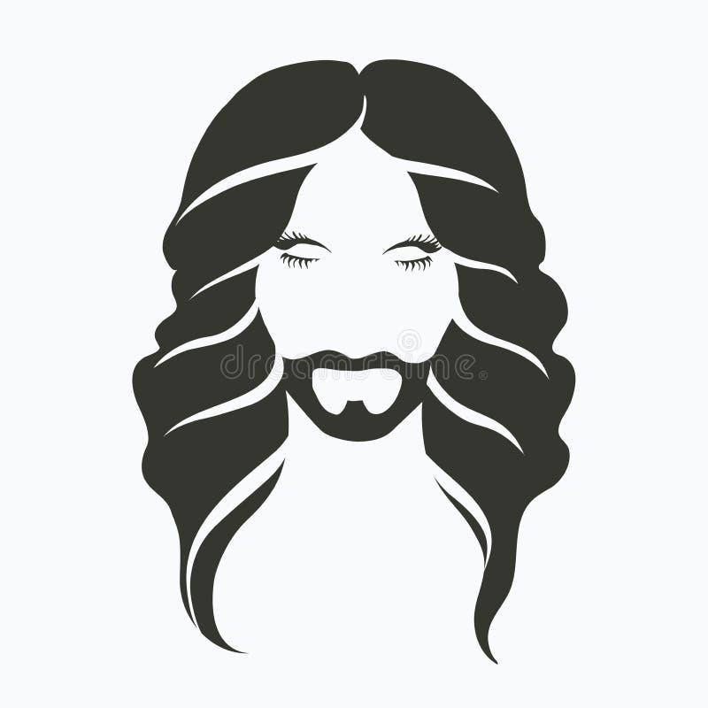 Wektorowy ikona portret mężczyzna z brodą i piękny długie włosy, perm, monochrom, eleganccy, modni mężczyzna s, ilustracja wektor
