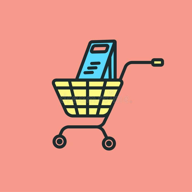 Wektorowy ikona projekt płaski kosz, wózek na zakupy royalty ilustracja