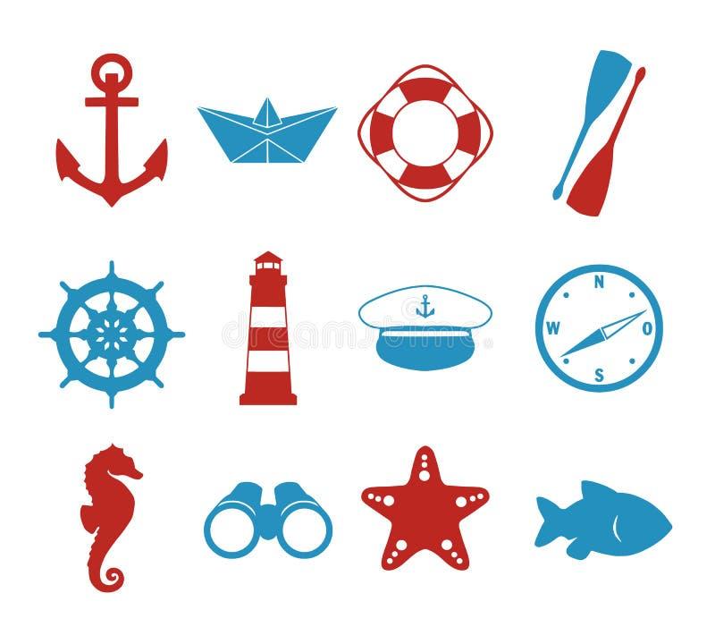 Wektorowy ikony inkasowy ustawiający z morskimi sylwetkami papierowy statek, szypera kapelusz, kompas, kotwica, latarnia morska, ilustracja wektor