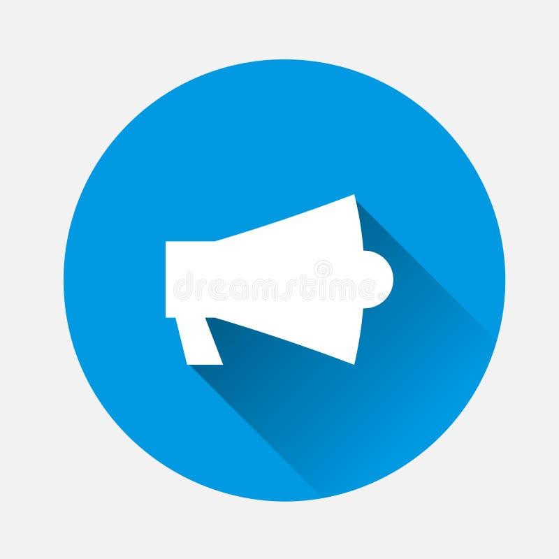 Wektorowy ikony megafon na błękitnym tle Płaski wizerunku megafon z ilustracji