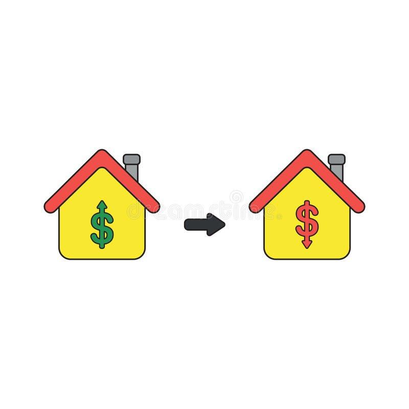 Wektorowy ikony pojęcie dom z dolarowymi symbolami i strzałami rusza się w górę i na dół Czer? kontury i barwi?cy ilustracji