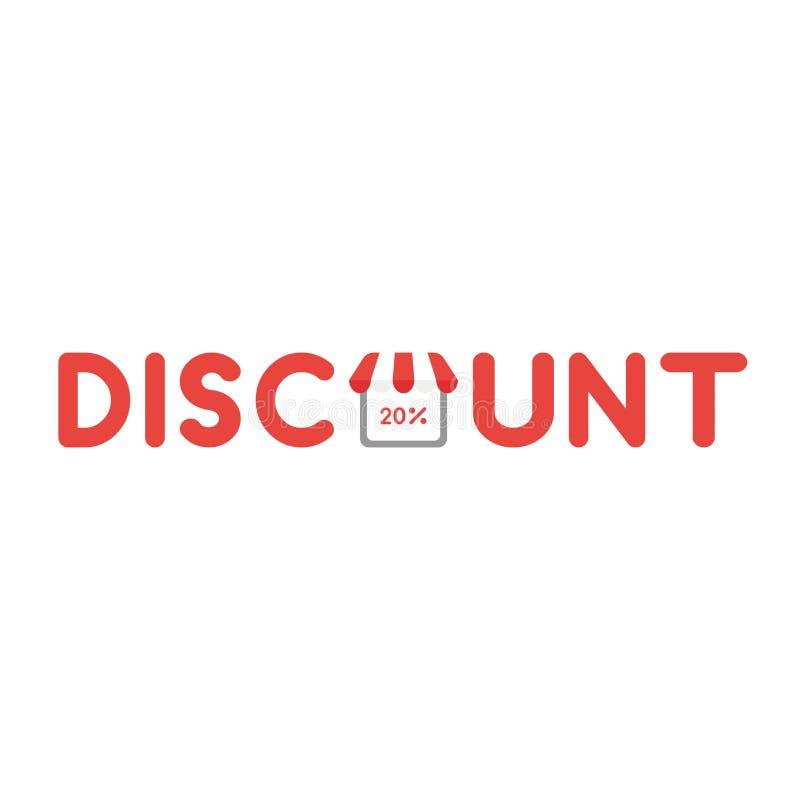 Wektorowy ikony pojęcie dyskontowy słowo z 20 procentów inside sklepem ilustracji