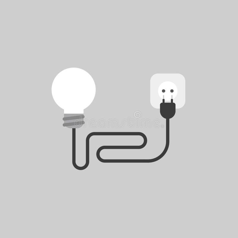 Wektorowy ikony pojęcie ligh żarówka z kablem, prymką i ujściem, dalej ilustracji