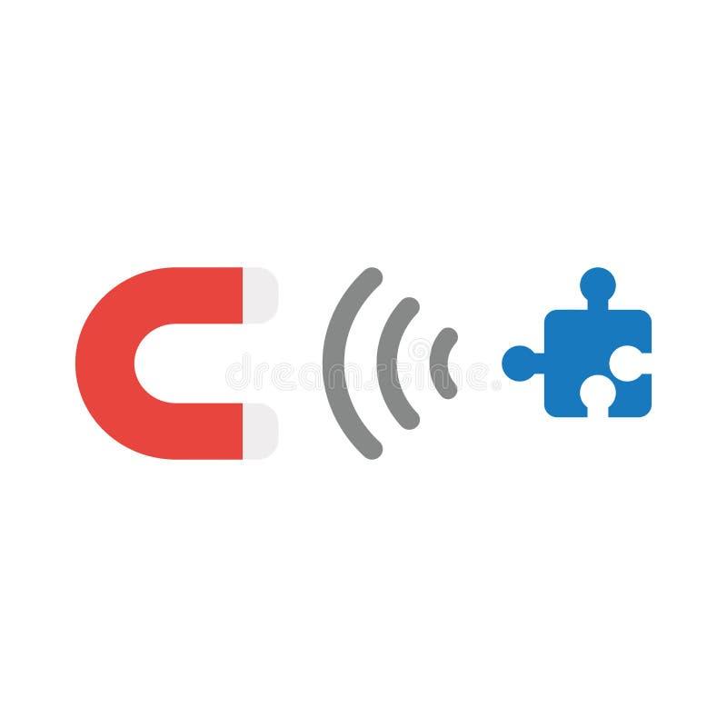 Wektorowy ikony pojęcie przyciąga brakującego łamigłówka kawałek magnes ilustracji