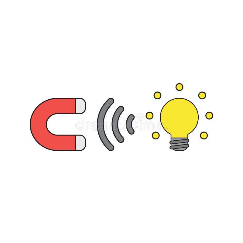 Wektorowy ikony pojęcie przyciąga rozjarzonego żarówka pomysł magnes Czer? kontury i barwi?cy royalty ilustracja