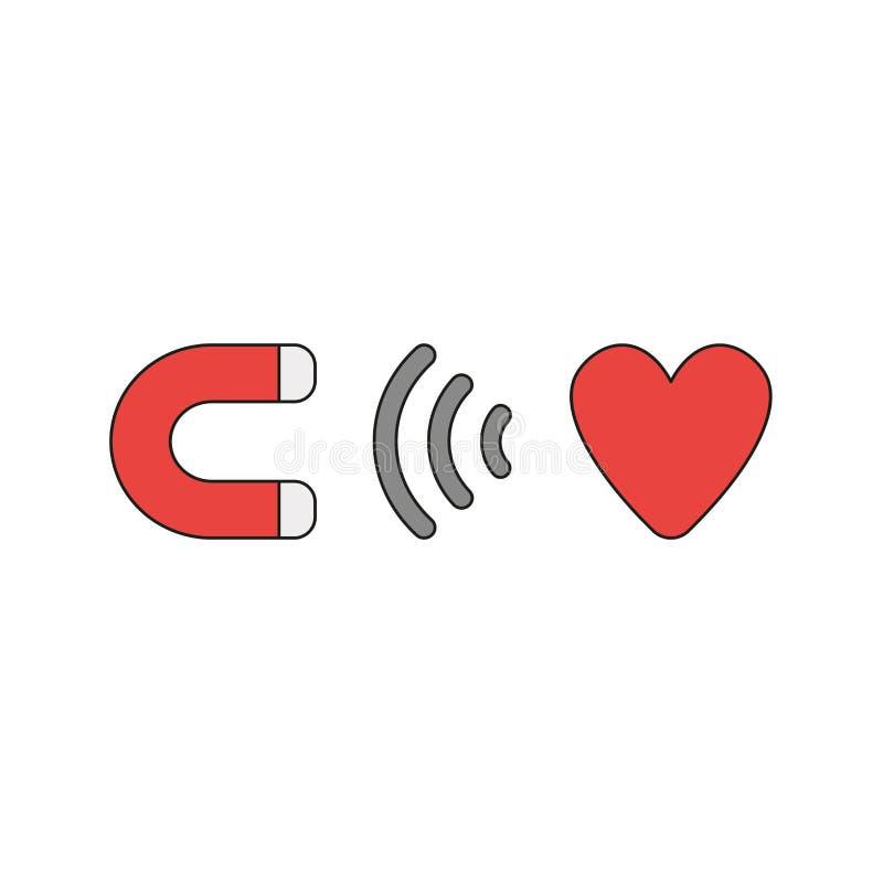 Wektorowy ikony pojęcie przyciąga serce magnes ilustracja wektor