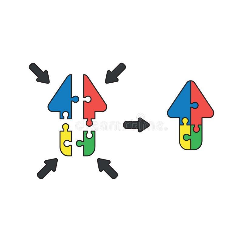 Wektorowy ikony pojęcie strzała kształtująca łamigłówka składa pokazywać w górę i łączy ilustracji