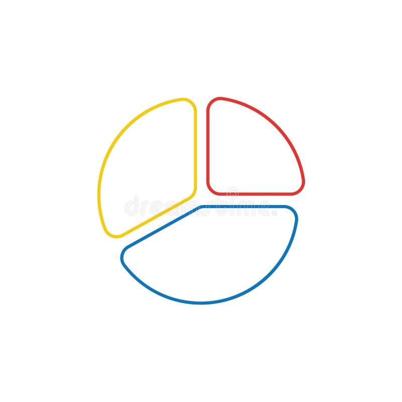 Wektorowy ikony pojęcie trzy części diagram Kolorów kontury ilustracji