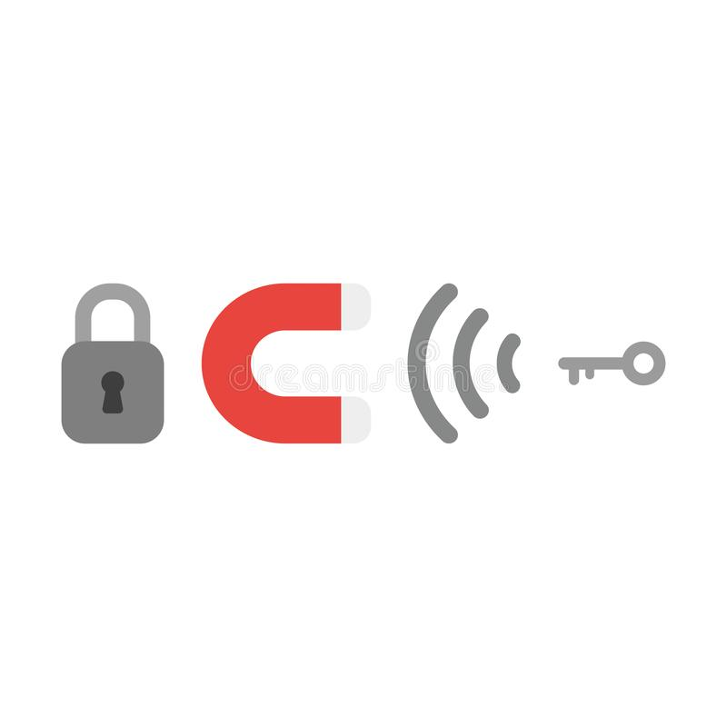 Wektorowy ikony pojęcie zamknięta kłódka z magnesem przyciąga klucz ilustracji