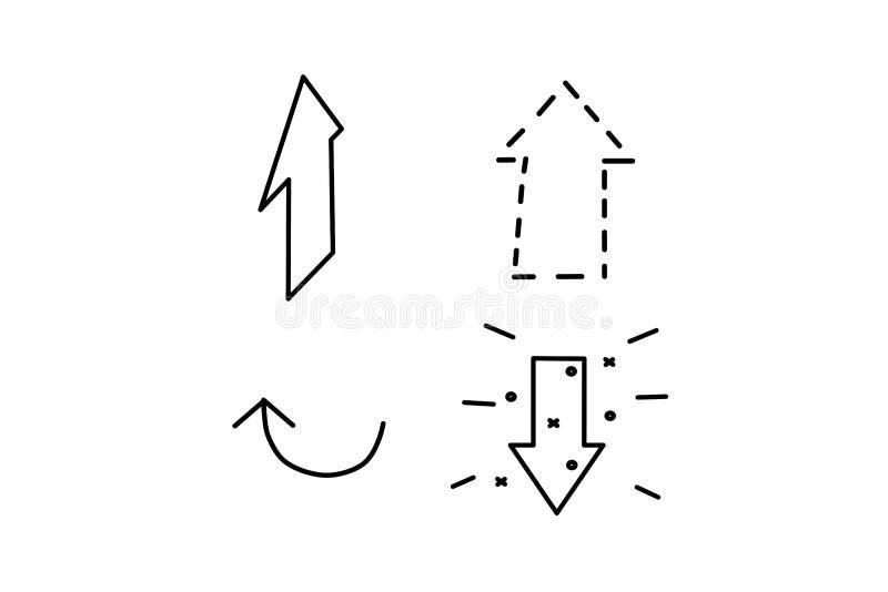 Wektorowy ikony strza?y set Ustawia? internetowe ikony Odosobnione p?askie strza?y ilustracyjne Czarny element dla projekta ilustracja wektor