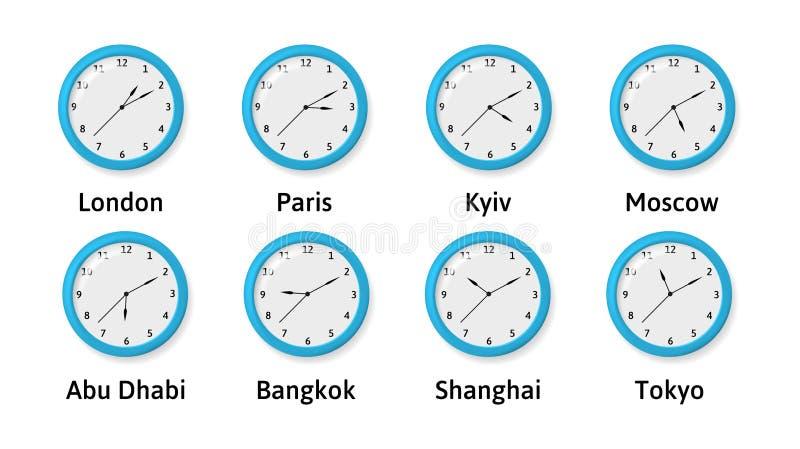 Wektorowy illlustration strefa czasowa Ścienni zegary royalty ilustracja