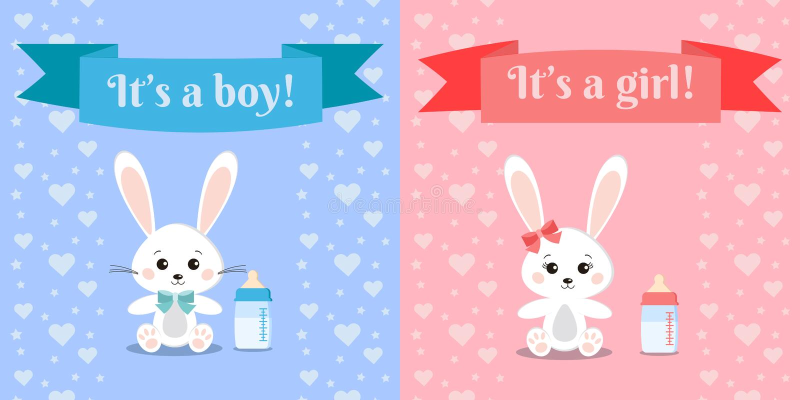 Wektorowy illusrtation z królikami i dziecko butelką ślicznymi i słodkimi królik dziewczyny i chłopiec ilustracji
