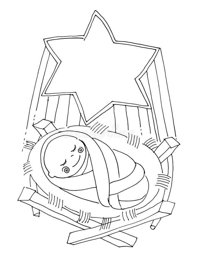 Wektorowy illustartion dla kolorystyki książki Mały dziecko Jezus ilustracja wektor