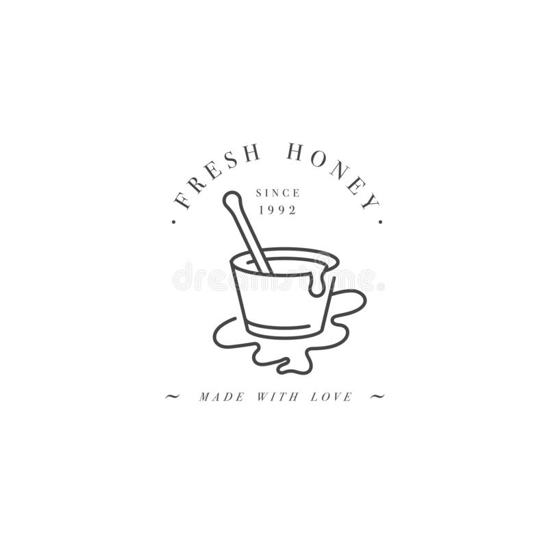 Wektorowy illustartion logo, projekt odznaka i szablon lub Organicznie i eco etykietki chochla dla miodu miodowy kij lub liniowy royalty ilustracja
