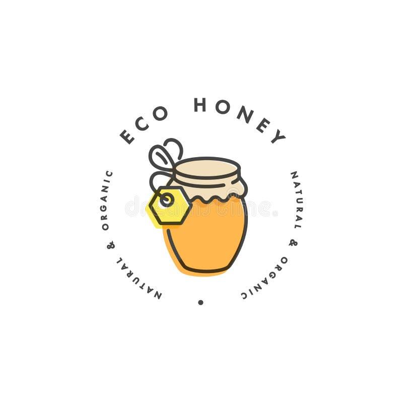 Wektorowy illustartion logo, projekt odznaka i szablon lub Organicznie i eco miodowa etykietki butelka miód liniowy styl royalty ilustracja