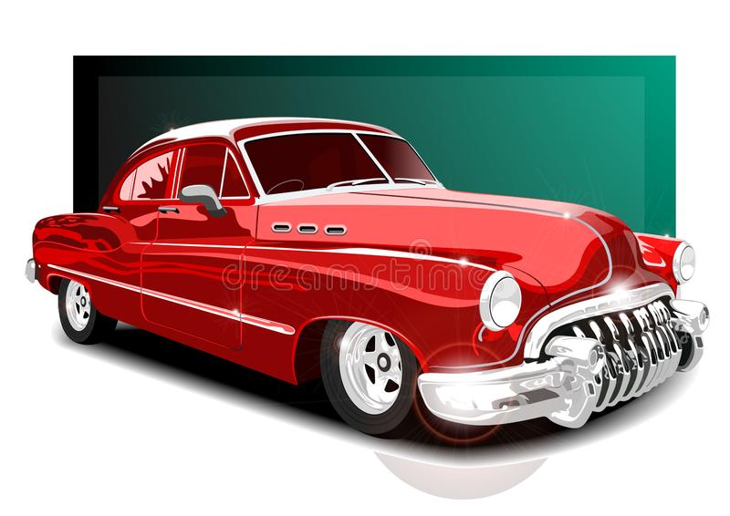 Wektorowy illustartion rocznika czerwieni samochód samochód retro ilustracja wektor