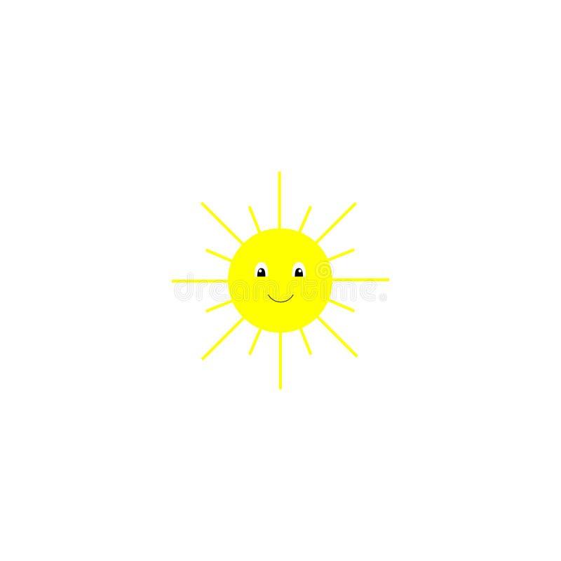 Wektorowy illustraton Żółty słońce z uśmiechniętą twarzą i oczami Uśmiechnięta lato ikona EPS10 royalty ilustracja