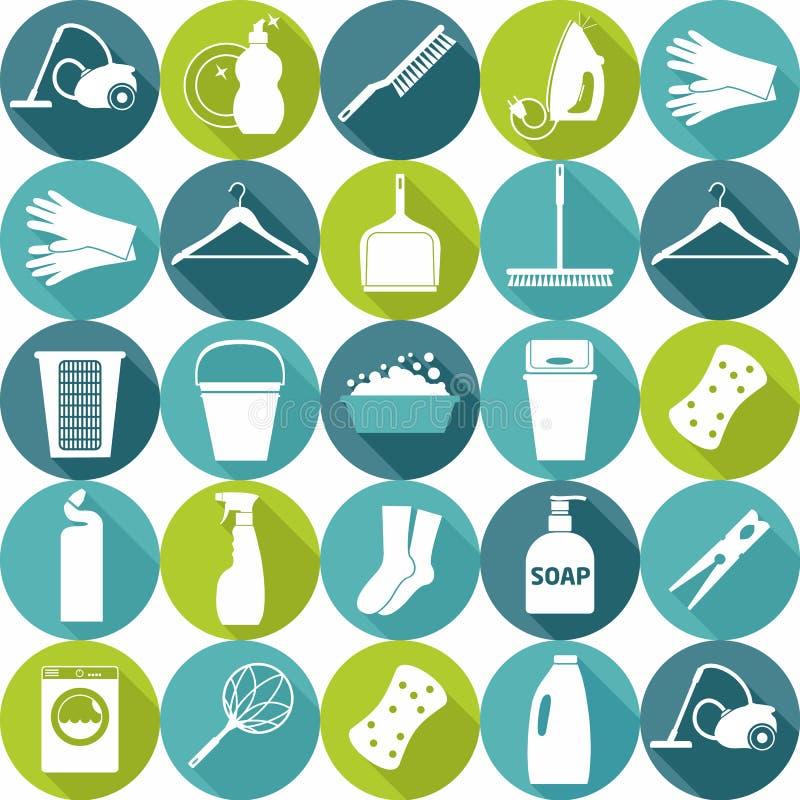 Wektorowy illustratuon cleaning Ikony tło fotografia royalty free