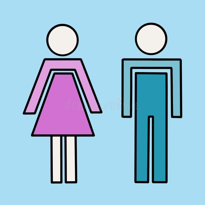 Wektorowy illustrstion mężczyzny i kobiety sylwetki royalty ilustracja