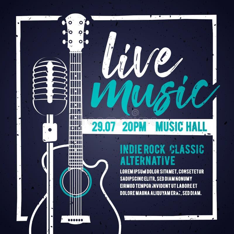 Wektorowy illutration sztandar z gitarą akustyczną i mikrofonem dla koncerta, muzyki na żywo i przyjęcia, ilustracji