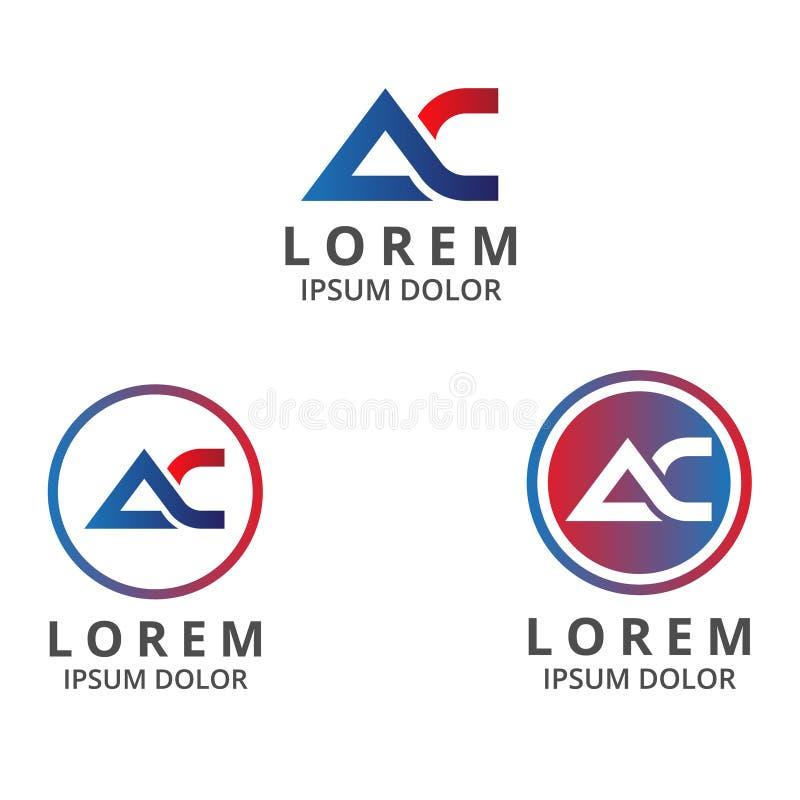 Wektorowy ilustracja list a i c ikony logo nowożytny projekt z gradientowym kolorem ilustracja wektor