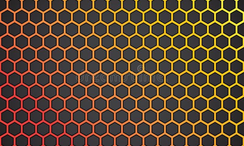 Wektorowy ilustracyjny żółty pomarańcze linii sześciokąt z czarnym tłem ilustracja wektor