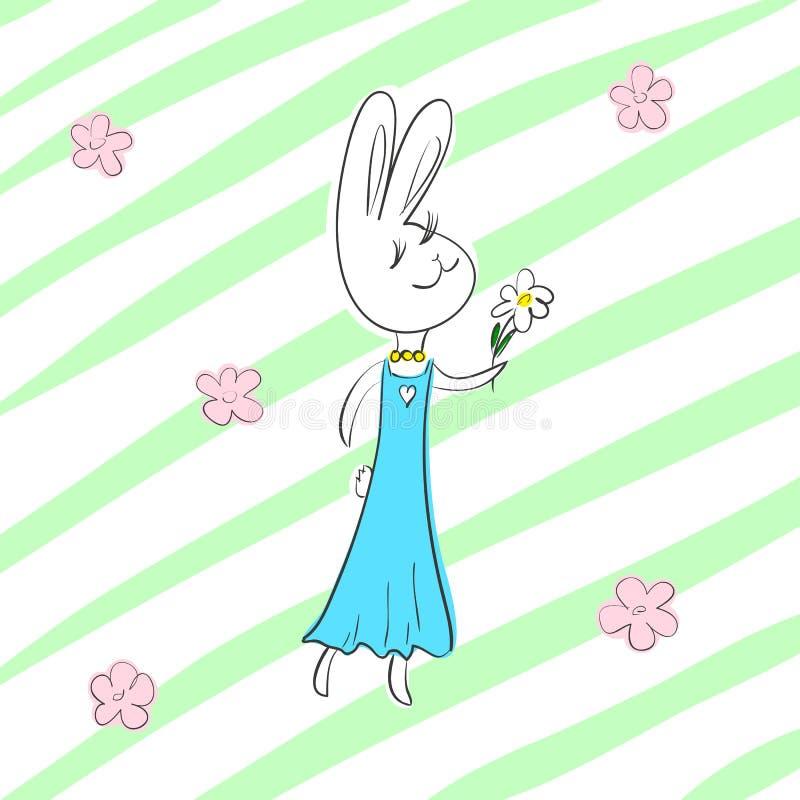 Wektorowy ilustracyjny śliczny romantyczny królik dziewczyny charakteru odprowadzenie przez kwiatu pole ilustracja wektor