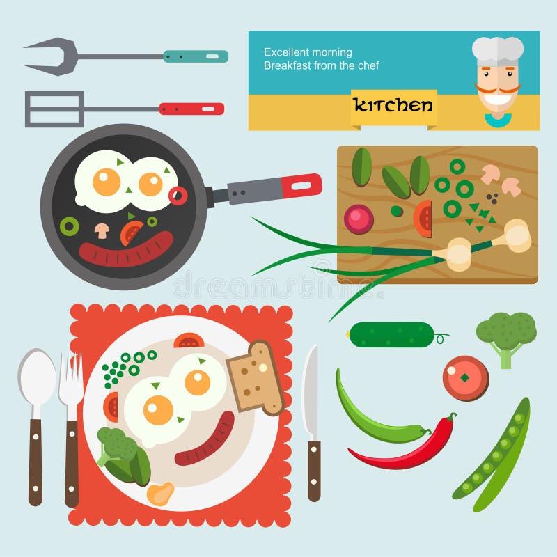 Wektorowy ilustracyjny świeży śniadaniowy jedzenie w mieszkaniu royalty ilustracja