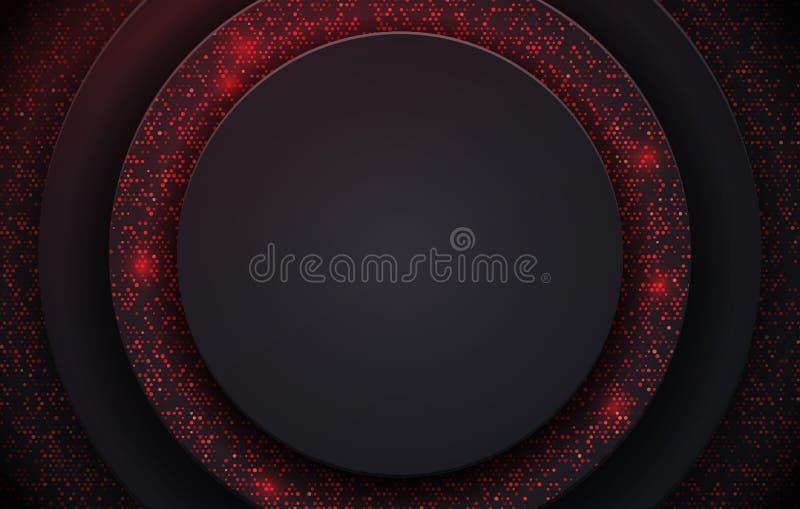 Wektorowy ilustracyjny abstrakcjonistyczny czarny tło textured z czerwonym halftone wzorem Kreatywnie ok?adkowy projekta szablon ilustracji