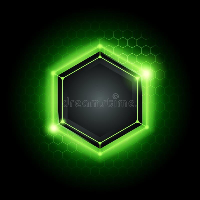 Wektorowy ilustracyjny abstrakcjonistyczny nowożytny metalu cyber technologii tło z poli- sześciokąta wzorem, zielonym światłem i ilustracja wektor