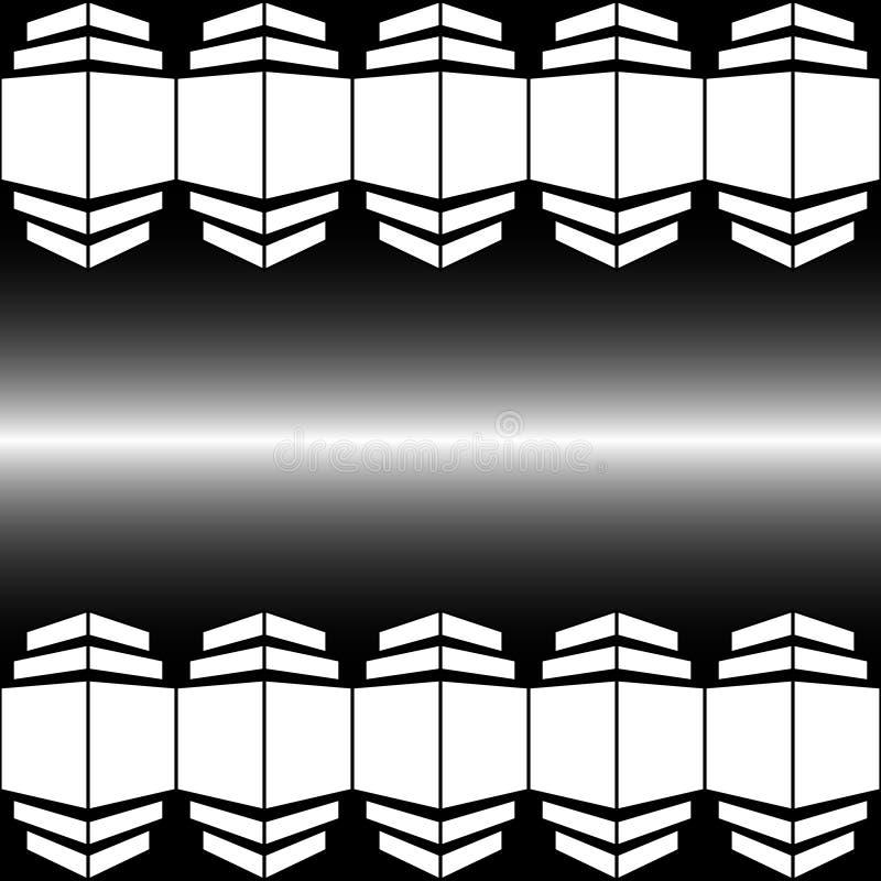 Wektorowy ilustracyjny abstrakcjonistyczny wizerunek geometryczni kształty biały kolor w perspektywie na gradientowym tle z biały ilustracja wektor