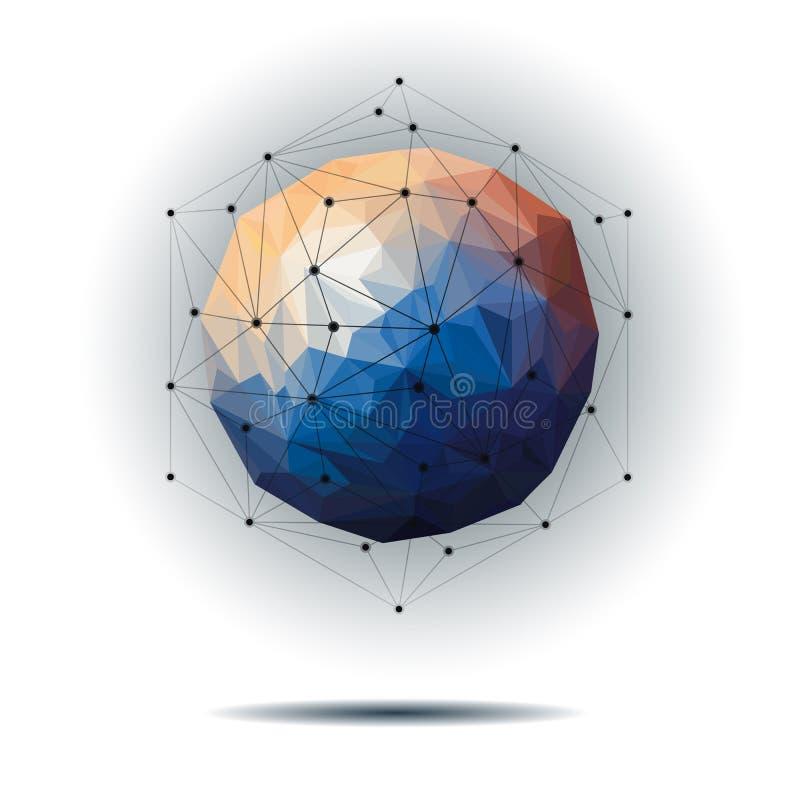 Wektorowy ilustracyjny abstrakt 3D Geometryczny, Poligonalny, Trójgraniasty wzór w molekuły struktury kształcie, ilustracja wektor