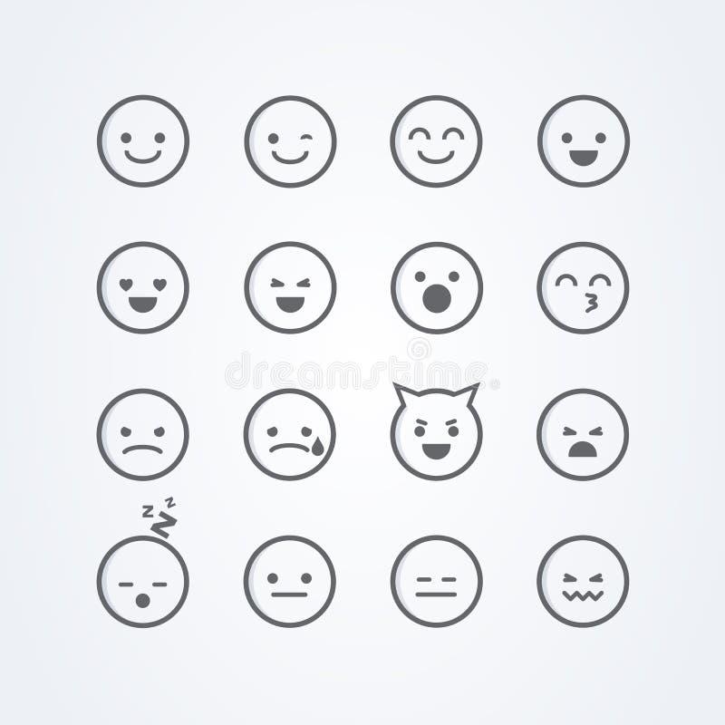 Wektorowy ilustracyjny abstrakt odizolowywająca śmieszna śliczna mieszkanie stylu emoji emoticon ikona ustawiająca z różnymi nast royalty ilustracja