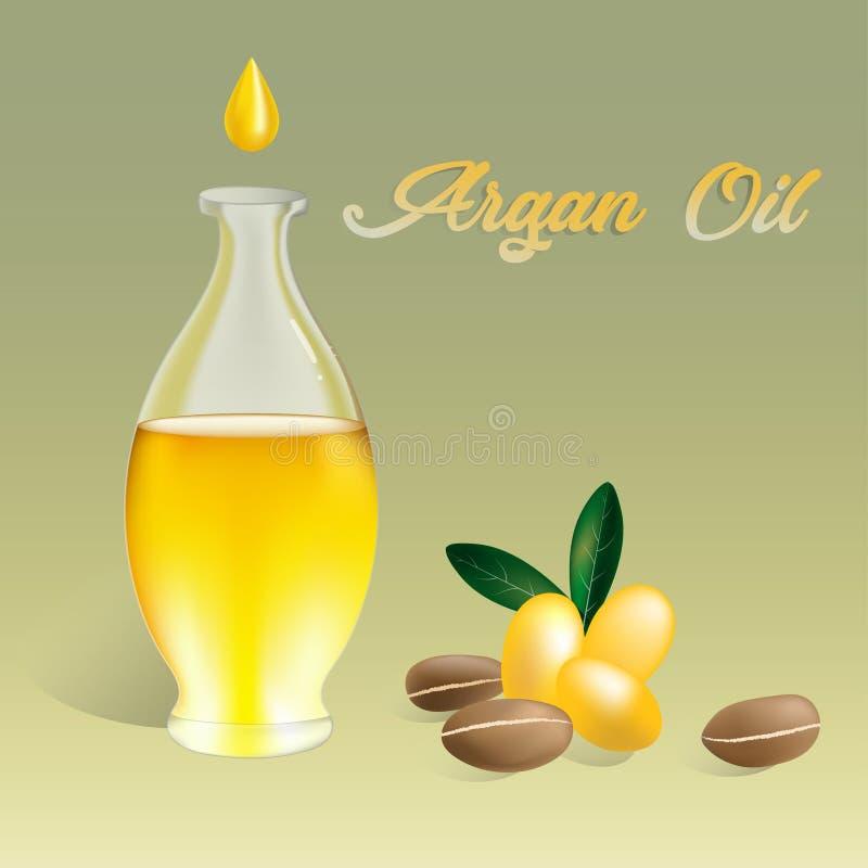 Wektorowy ilustracyjny Argan olej w butelce z argan owoc i argan dokrętkami Teksta Argan olej royalty ilustracja
