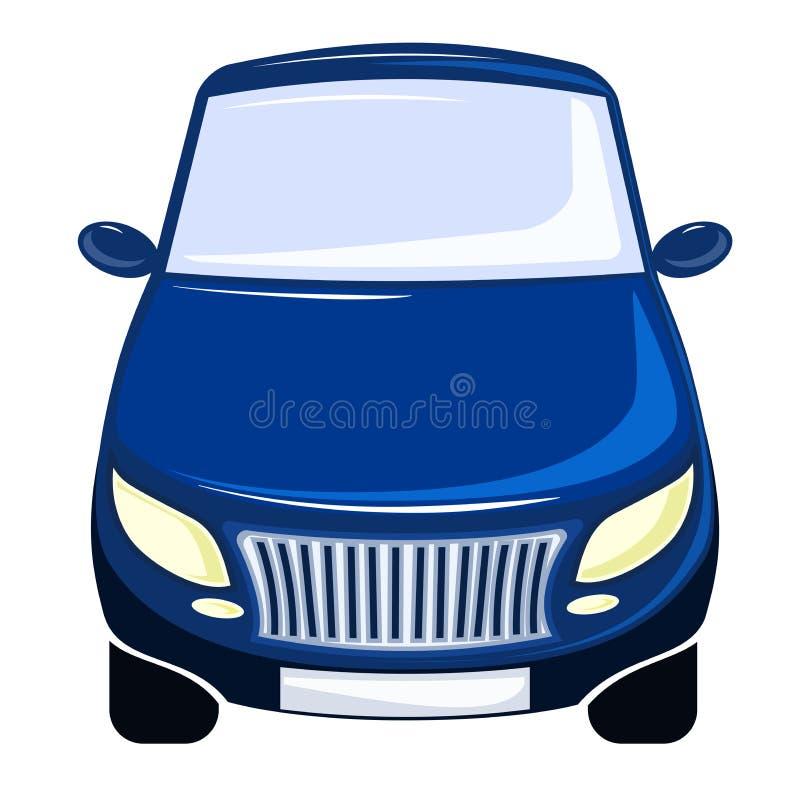 Wektorowy ilustracyjny błękitny samochód, frontowy widok, zderzak, windscreen i kapiszon, ilustracja wektor