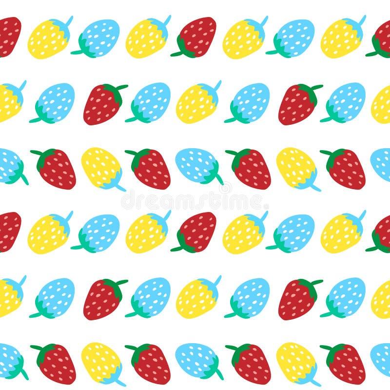 Wektorowy ilustracyjny bezszwowy wzór błękitnej czerwieni i koloru żółtego truskawka obrazy stock