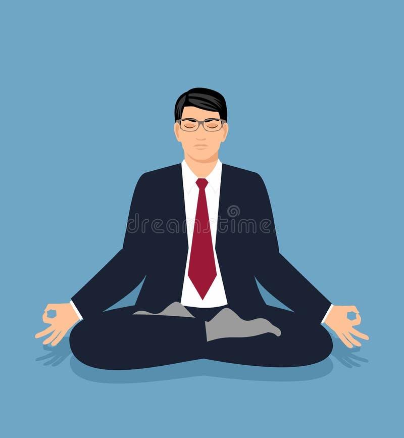 Wektorowy ilustracyjny biznesmen w kostiumu siedzi w lotosowej pozyci i medytuje ilustracja wektor