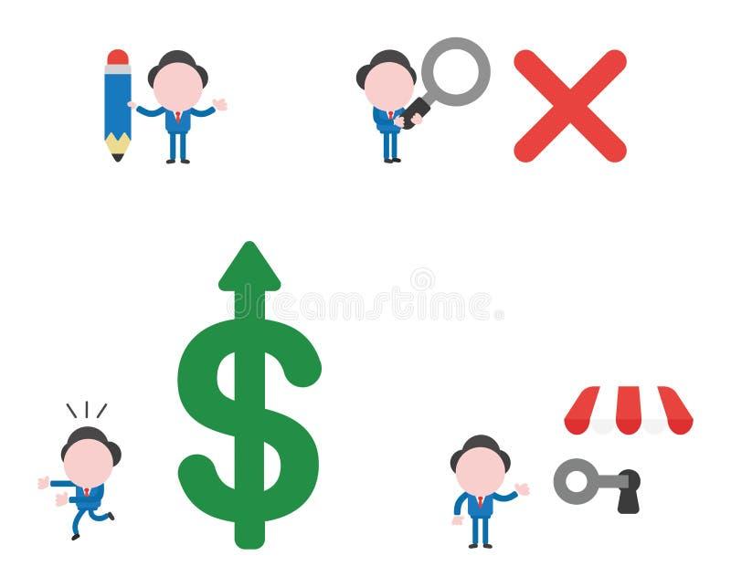 Wektorowy ilustracyjny biznesmena charakter - set royalty ilustracja