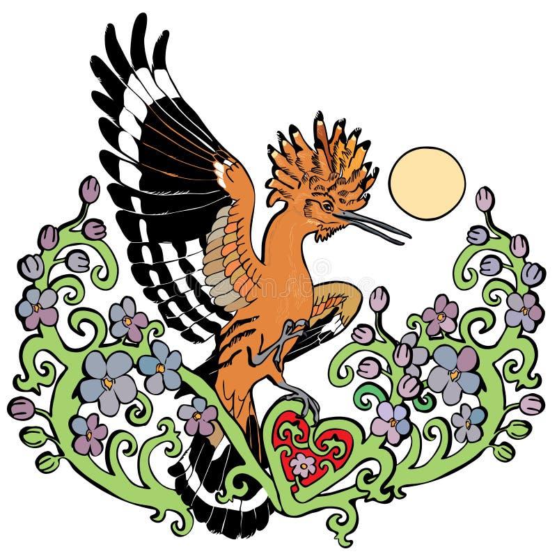 Wektorowy ilustracyjny dudek w okwitnięcie kwiatu gałąź kolorowym rysunku ilustracja wektor