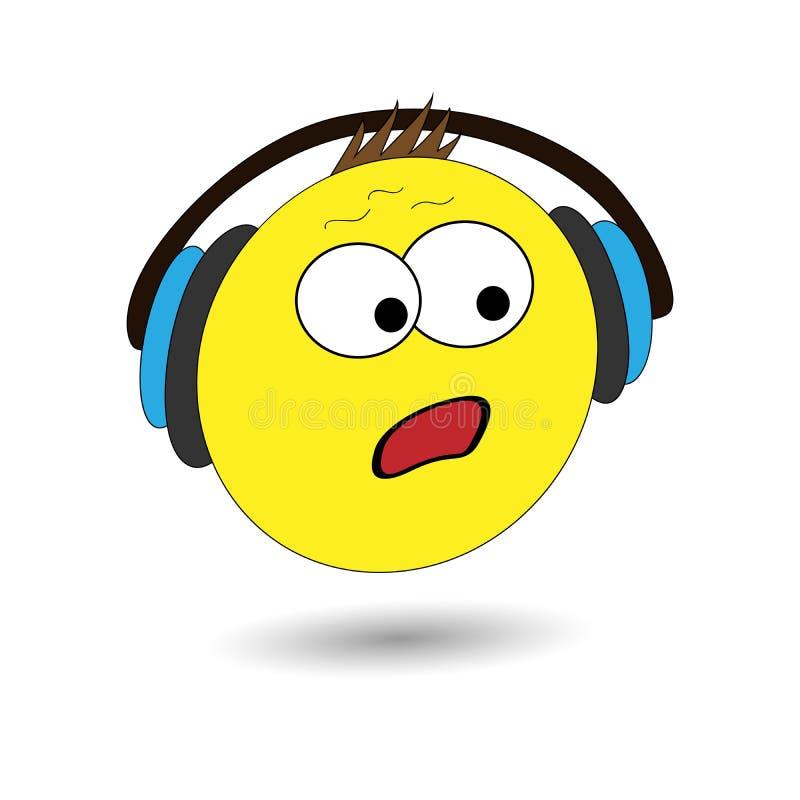 Wektorowy ilustracyjny emoji Zdziwiona emocja, huh emocja Kreskówka druk ilustracji
