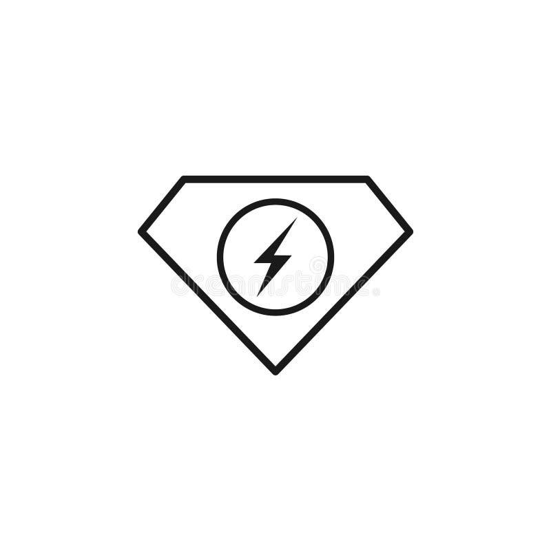 Wektorowy ilustracyjny energii i diament ikony logo projektuje czarnego kolor royalty ilustracja